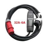 3-fase 32A-6A Justerbar EVI Ladekabel